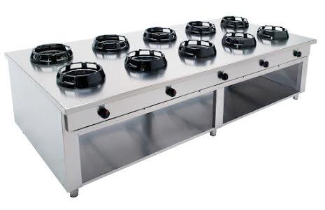 Wokspis 10 brännare 9.5, 14 eller 21 kW dim 2500x1000x850 mm