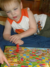 Photo: Then we moved on to CandyLand. Bbear is contemplating his next move.