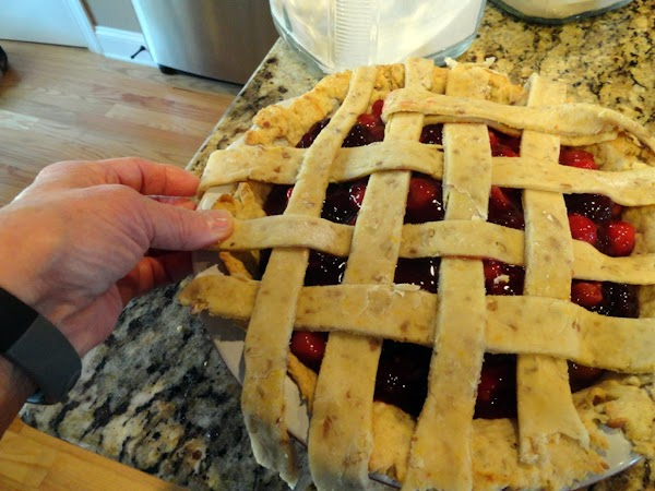 FINISH: Add filling to bottom crust. Lay top crust over filling. Brush w/ egg white,...