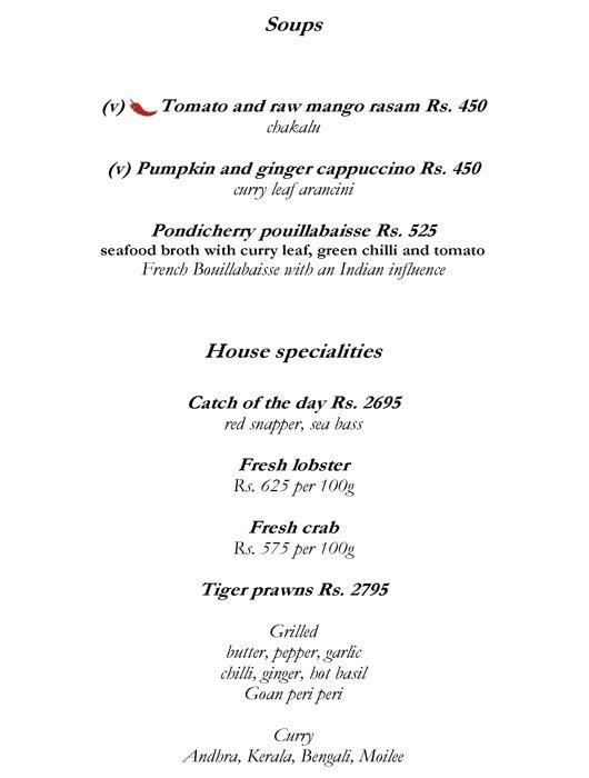 Amaranta, The Oberoi menu 4