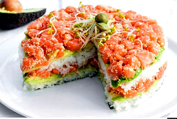 Sushi Cake With Avocado, Cucumber And Salmon 160 Kcal -100g Recipe ...