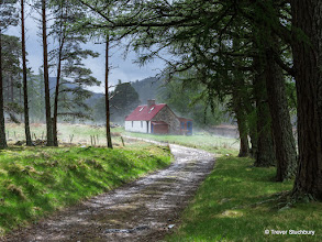 Photo: Felagie Cottage, Invercauld Estate steaming in the sun after hail shower