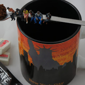 Coffee atop a skyscrapers by Neil Emerson - Artistic Objects Toys ( mug, coffee, new york, people, miniature )
