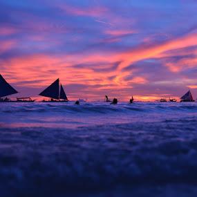 sunset by Philip Familara - Landscapes Sunsets & Sunrises ( blue sky, boracay, sunsets, sunset, boats, sundown, sail, sailboat, boat, philippines, island )