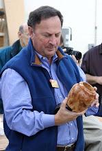 Photo: Stan Wellborn brought a pine burl vase.