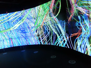 """Photo: Neural pathways in 3D at the CAVE2(TM)* facility, Monash's Immersive Visualisation Platform at the Clayton campus. See more at http://monash.edu/mivp. CAVE stands for """"CAVE Assisted Virtual Environment"""". *CAVE2 is a trademark of the University of Illinois Board of Trustees Imagery courtesy of UIC EVL, CALIT2 UCSD, Australian Synchrotron, KAUST, and Monash University"""