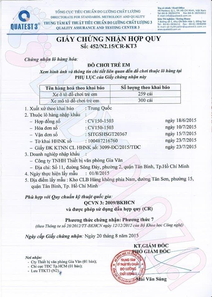 giấy kiểm định chất lượng xe oto điện trẻ em 2