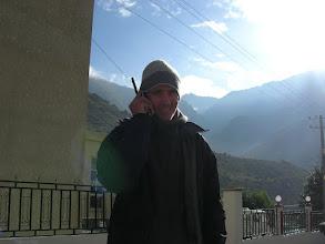 Photo: Chris is sat-phoning Stu in Nyalam