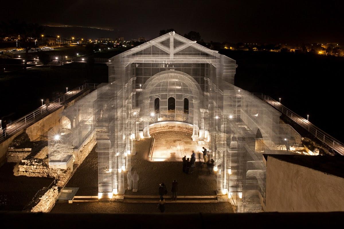Basilica di Siponto notte