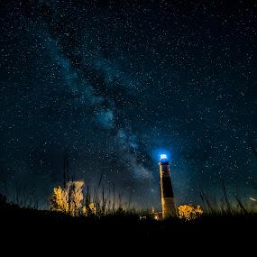 Big Light by Jeffrey Genova - Landscapes Starscapes ( milkyway, sky, stars, lighthouse, night, nikon, milky way,  )