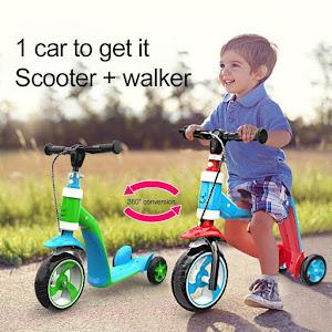 Trotineta pentru copii, convertibila, ajustare manuala pe inaltime