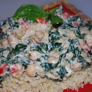 Kale & Chickpeas with Creamy Cashew Sauce.