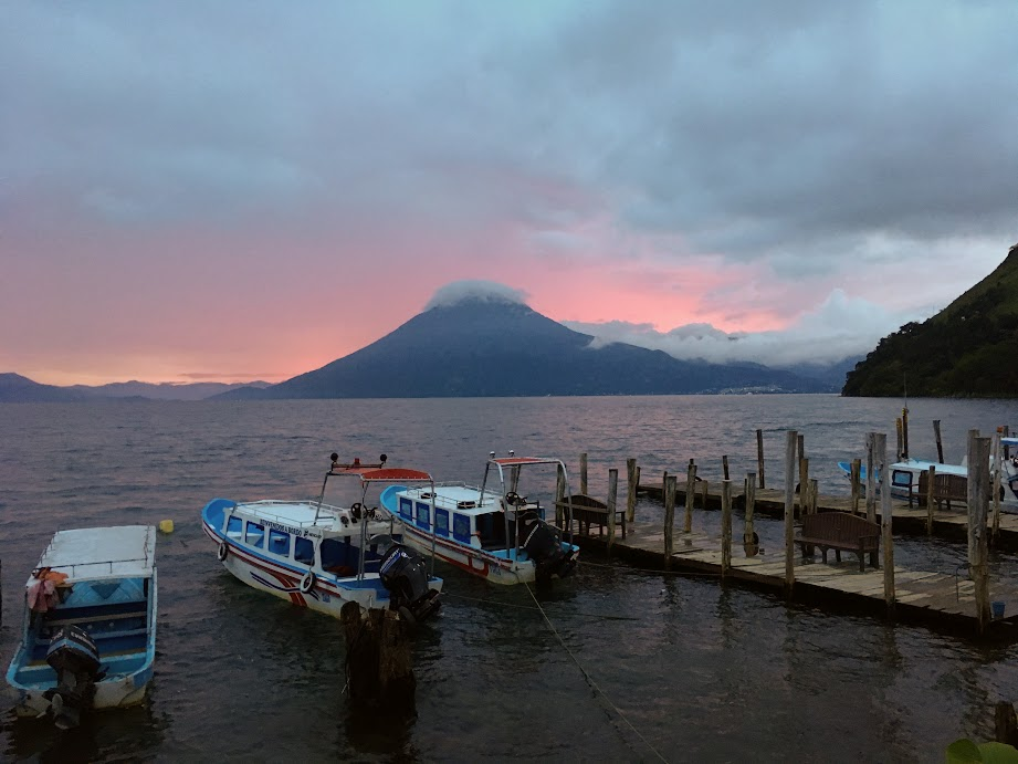 Beautiful sunset from Santa Cruz La Laguna, Guatemala