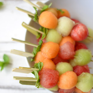 Melon Ball Skewers with Basil-Mint Dressing Recipe
