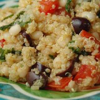 Lemon Garlic Quinoa with White Beans and Olives.