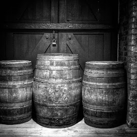 Barrels by Ron Pawsey - Black & White Buildings & Architecture