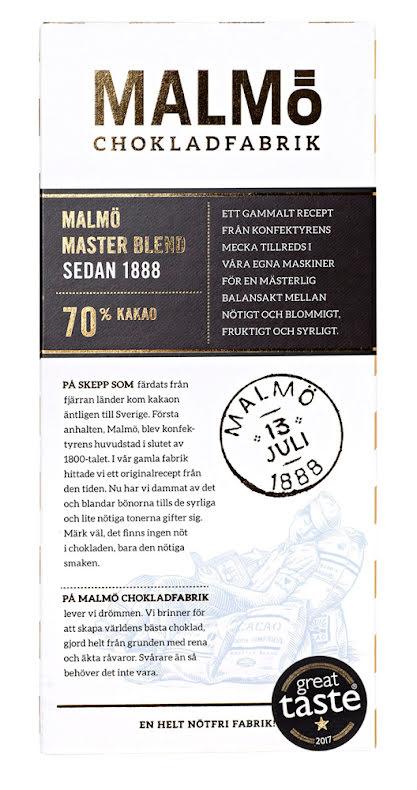 Master Blend – vegansk mörkchoklad 70 % - Malmö Chokladfabrik