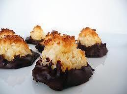 Chocolate Dipped Coconut Macaroons make small to get 10-15 14 ounces sweetened shredded coconut 14 ounces sweetened...