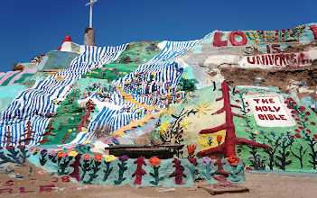 Photo: Salvation Mountain was created by local resident Leonard Knight, and encompasses numerous murals and areas painted with Christian sayings and Bible verses.