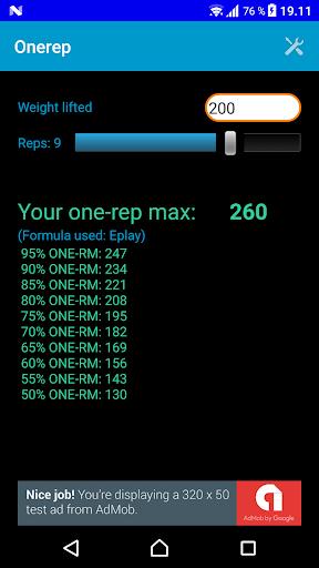 One Rep Max Calculator screenshot 1
