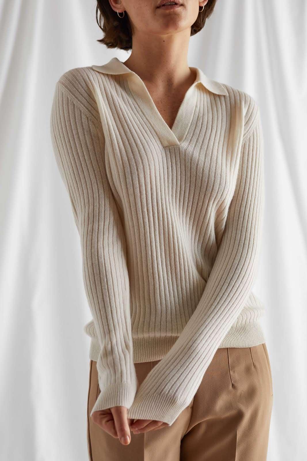 Open Collar Rib Sweater