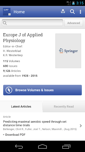 Europe J of Applied Physiology