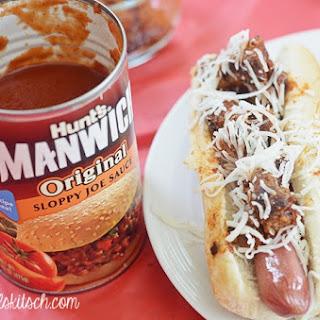 Cheesy Manwich Hotdogs.