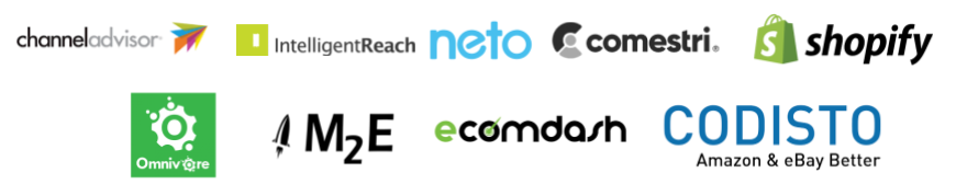 Channel Advisor, IntelligentReach, Neto, Comestri, Shopify, Omnivore, M2E, ecomdash. codisto.