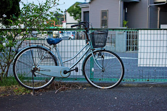 Photo: A bike sits, rusting away against a fence