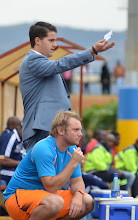 Photo: Coach McKinstry and assistant Tom Harris [Leone Stars v Swaziland 18 May 2014 (Pic: Darren McKinstry)]