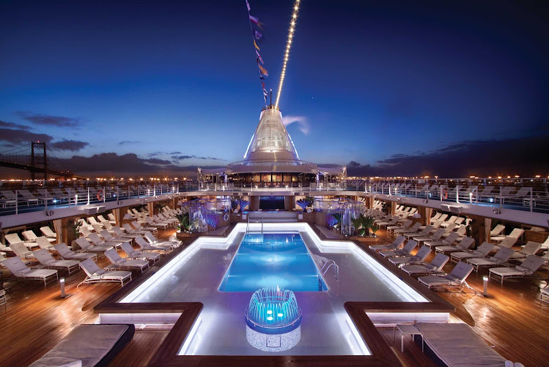 The expansive pool deck on Marina and Riviera from Oceania Cruises.