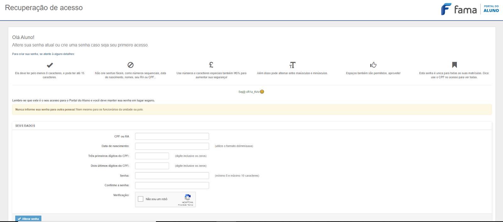 Primeiro acesso portal do aluno Fama