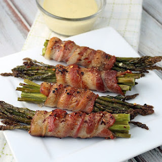 Bacon Wrapped Asparagus with Garlic Aioli.