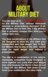 Super Military Diet : 3 Day Diet Weight Loss Plan - Apps ...