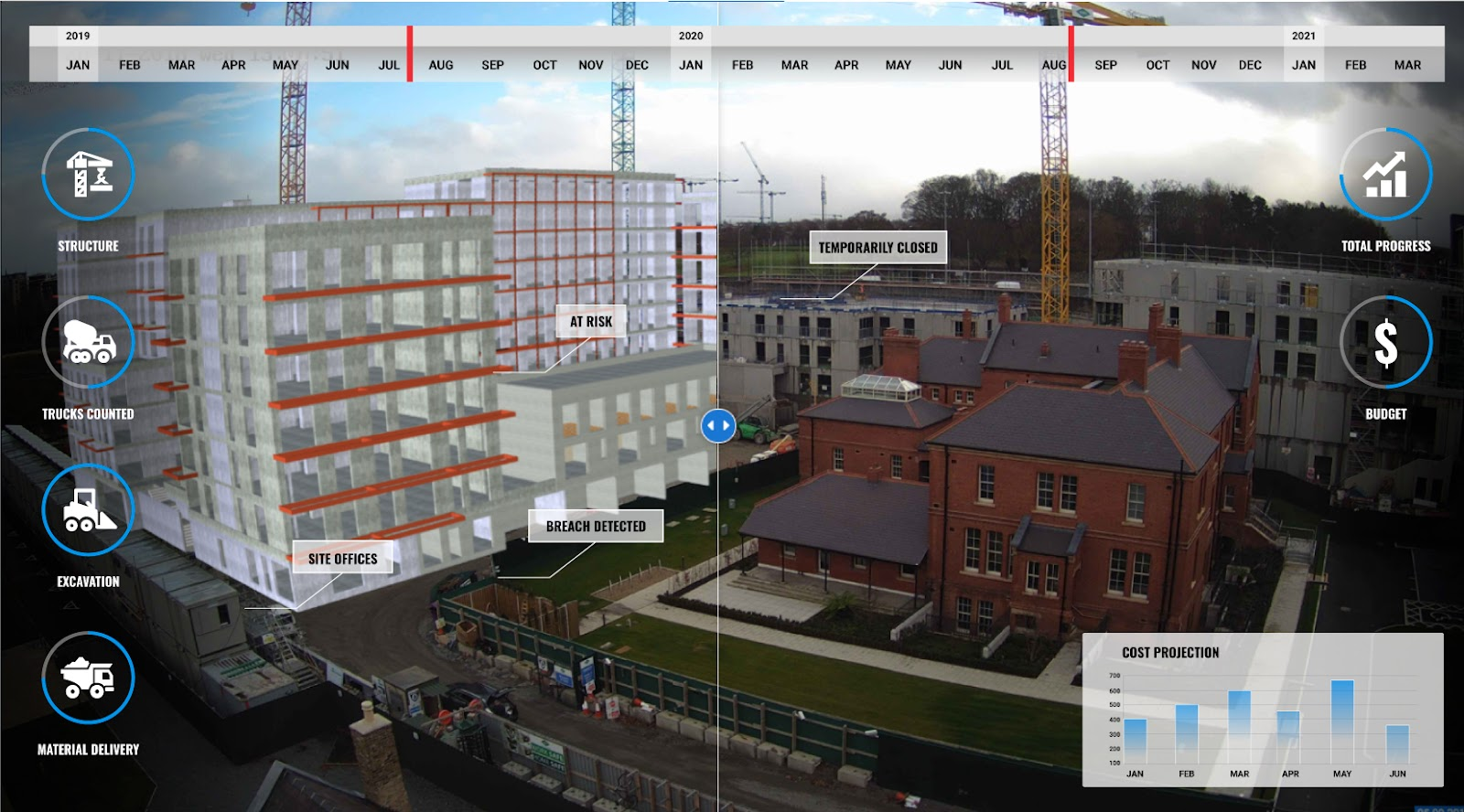 an image showing bim compare tool with technology used within Evercam camera view
