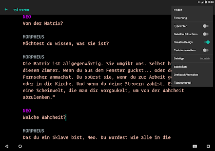Screenwriting app windows