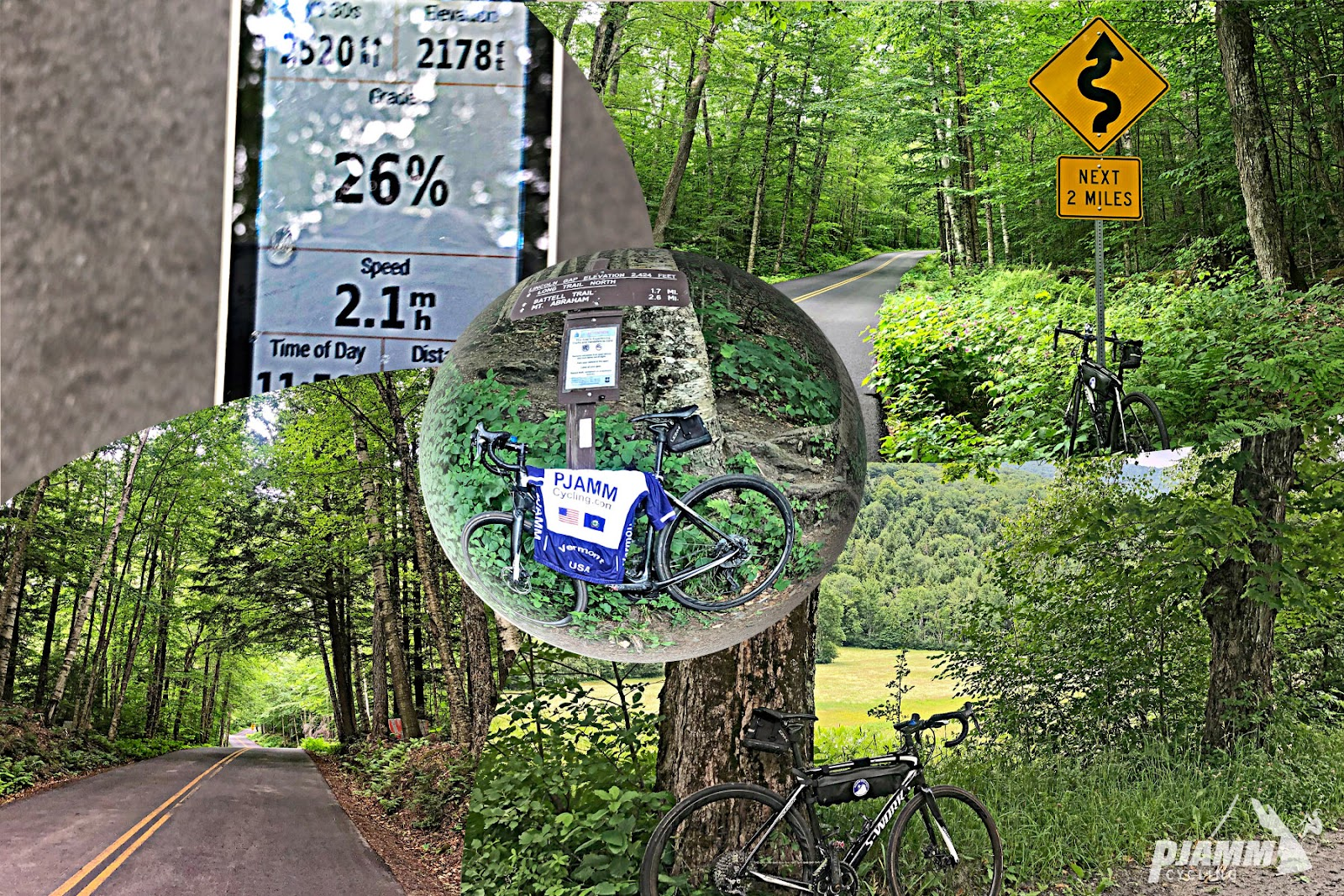 Cycling Lincoln Gap East - Garmin device showing 26% grade, lush tree-lined road with dense canopy and road sign for winding road next two miles, bike propped up against tree overlooking pastureland, bike with PJAMM cycling jersey draped across it propped up on trail sign for Lincoln Gap