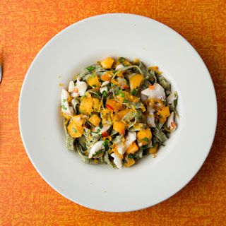 Kelp Pasta with Fish and Summer Vegetables.