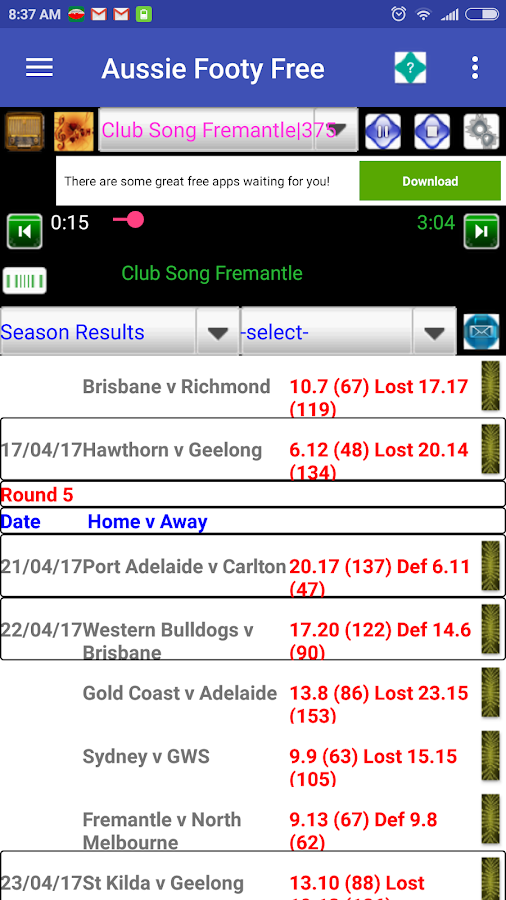 Aussie Rules Footy Predictor- screenshot