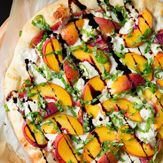 Three Cheese-Peach and Prosciutto Pizza with Basil and Honey Balsamic Reduction
