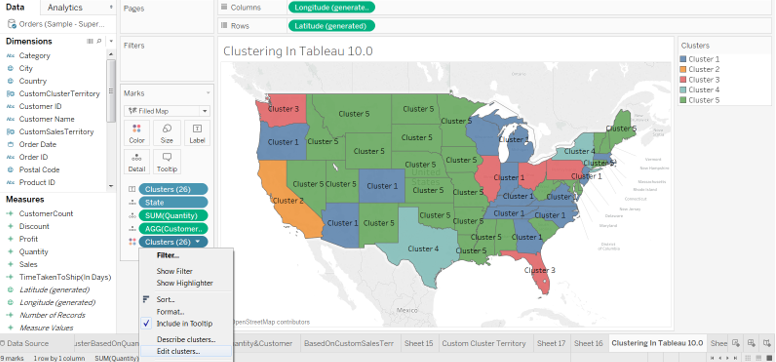 K-means Clustering in Tableau  & Visualizing Custom Sales territory based on the Analysis 37