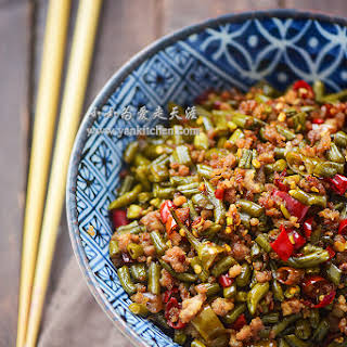 Stir-fried Sichuan Style Pickled String Beans and Ground Pork.