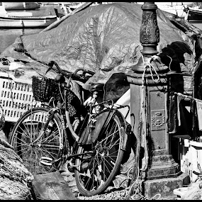 bicycle by Riccardo Lazzari - City,  Street & Park  Street Scenes ( b&w, liguria, sea, fisher, bicycle, black and white, portrait, people, city, photography,  )