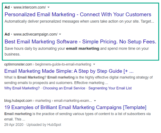 Screenshot of a Google search for email marketing