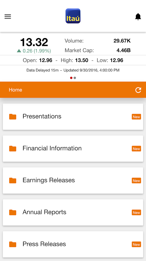 ITAU INVESTOR RELATIONS CL- screenshot