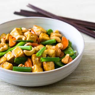 Cashew, Tofu, Carrots, and Snow Pea Stir-Fry.