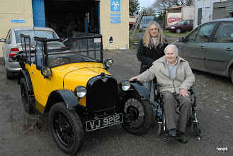 Photo: MOT duly passed    Roy and Rosamund Rowe suitably pleased too  outside Treburly Garage