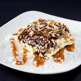 Caramel Chocolate Coconut Eclair Cake
