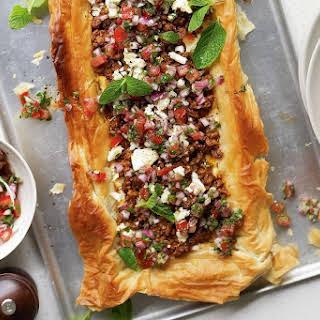 Middle Eastern lamb tart.