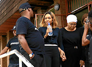Busisiwe 'Cici' Thwala in a discussion   after she testified against Arthur Mafokate in Midrand Magistrate's Court. The singer accuses the prosecutor in the case of bias and incompetence.